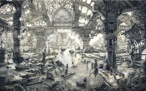Картинка город, лодка, графика, дома, фонари, разрушение, церковь, канал, колонны, Чёрно-белая