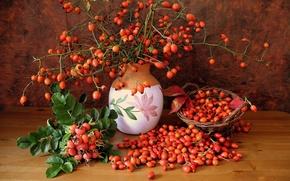 Картинка ягоды, корзина, ваза, Шиповник