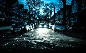 Обои велосипед, автомобили, Chiswick, зима, дома, Англия, деревья, Лондон, улица, силуэт, фонарный столб, небо, фар