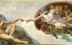 Картинка Michelangelo, Creation of Adam, Vatican, Religion, Sistine Chapel