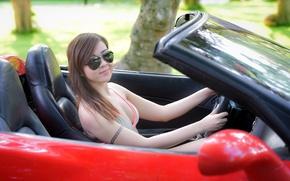 Картинка лето, взгляд, девушка, лицо, очки, азиатка, автомобиль
