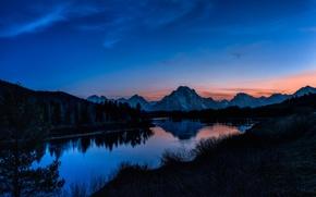 Обои озеро, рассвет, лес, горы