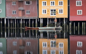 Картинка город, лодки, Norway, Trondheim