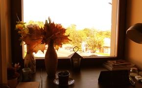 Картинка листья, Осень, окно, ваза