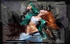 Картинка Танец, Гранж, Девушка, Рыжая