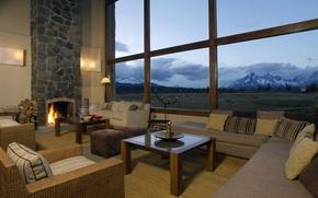 Картинка стиль, гостиная, интерьер, дом, вилла, камин, дизайн