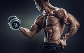 Картинка muscles, pose, workout, dumbbell, bodtybuilder