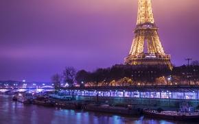 Картинка ночь, Франция, катер, фонари, канал, Эйфелева башня, Coast, France, Boats