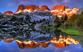 Картинка горы, озеро, отражение, Калифорния, California, Минареты, Ediza Lake, Ansel Adams Wilderness, Minarets