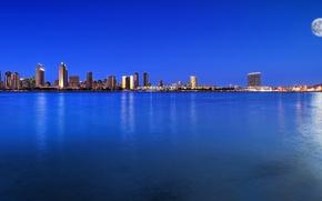 Картинка пейзаж, ночь, город, луна, залив, usa, синее небо, san diego