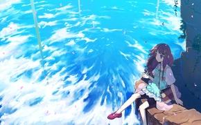 Картинка небо, листья, облака, ветер, сидит, tamaki fuyu
