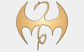 Картинка golden, logo, white, dragon, fon, Marvel comic, Iron Fist