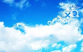 Обои голубое, полосы, полоски, плоские фигуры, белое, бабочка, узоры, небо, облака
