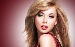 Картинка взгляд, фон, макияж, платье, блондинка, губы