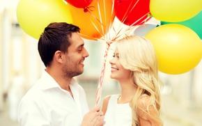 Картинка шарики, любовь, радость, счастье, воздушные шары, пара, happy, couple, romance, balloons