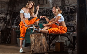 Картинка models, workers, poses, metallurgy, work clothes