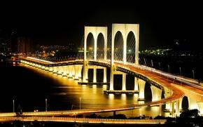 Картинка дорога, ночь, мост, город, огни, река