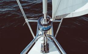 Картинка море, яхта, парус, мачта, киль, корма