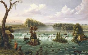 Картинка пейзаж, река, картина, пороги, индеец, Генри Льюис, Водопады Святого Антония, Верхняя Миссисипи