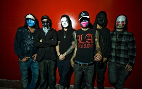 Обои Hollywood, J-Dog, Charlie Scene, Funny Man, Da Kurlzz, J3T, Deuce, Hollywood Undead