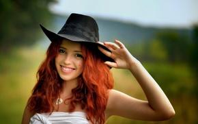 Картинка улыбка, портрет, шляпа, рыжеволосая, Ира
