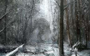 Обои рисунок, монстр, снег, лес