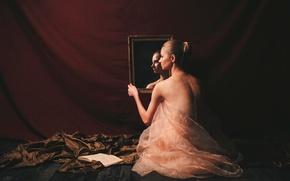 Обои девушка, зеркало, книга