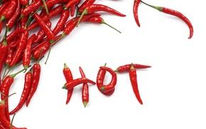 Обои чили, перец, hot, белый фон, надпись, chili, горький