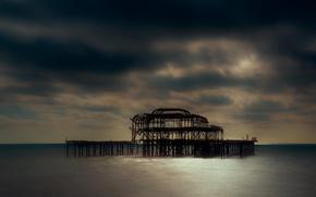 Картинка море, пляж, Англия, Великобритания, заброшенный, архитектура, сумерки