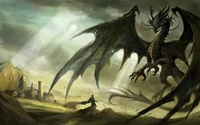 Обои тонах, В темных, и человек, дракон