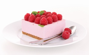 Обои ягоды, малина, пирожное, десерт, сладкое, ложки