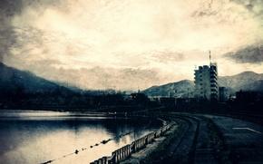 Картинка дорога, горы, города, водоем, строения