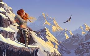 Картинка небо, девушка, снег, горы, орел, рыжая, топор