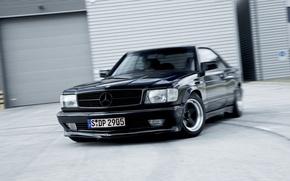 Обои coupe, benz, black, с126, Mercedes