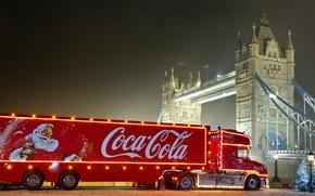 Картинка новый год, рождество, coca cola, Кока кола, новогодний грузовик, christmas truck, реклама coca cola, Санта …