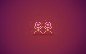 Обои любовь, чувства, сердца, пара, текстуры