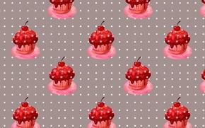 Картинка крем, вишни, сладкое, ягодки, кекс, черешни