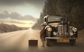 Картинка дорога, машина, мальчик, чемодан