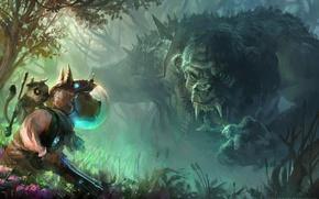 Картинка лес, цветы, оружие, собака, фэнтези, арт, шлем, зверек, троль
