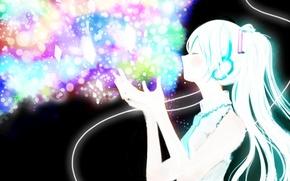 Картинка девушка, наушники, арт, провод, кристаллы, vocaloid, hatsune miku, вокалоид