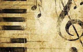 Обои пианино, Скрипичный ключ, музыка, текстуры