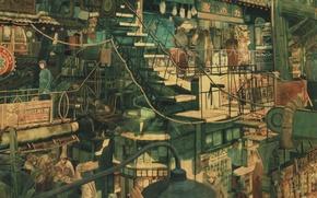 Картинка трубы, город, люди, улица, лестница, Art, магазины, Imperial Boy (Teikaku Shounen)