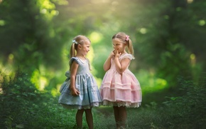 Обои природа, две девочки, настроение, подружки, девочки