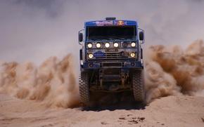 Картинка Песок, Пыль, Мастер, KAMAZ, Rally, КАМАЗ, Dakar, Передок