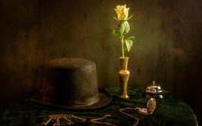 Картинка цветок, часы, шляпа, натюрморт, ключи, звонок