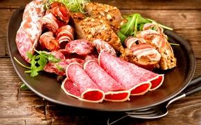 Обои хлеб, колбаса, еда, ветчина, мясо, тарелка