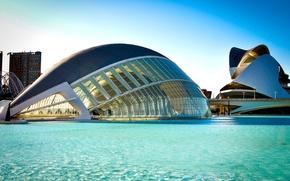 Картинка вода, мост, город, река, здание, архитектура, Испания, голубая, Spain, Valencia, L'Hemisfèric, Валенсия, Город Искусств и …