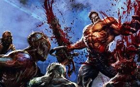 Картинка кровь, человек, маска, монстры, зомби, маньяк, Splatterhouse, бензопила