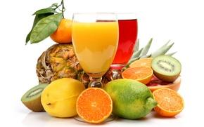 Картинка лимон, апельсины, киви, лайм, фрукты, ананас, цитрусы, грейпфрут, мандарин, соки