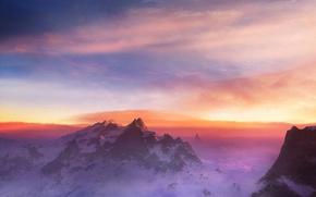 Обои снег, облака, Горы
